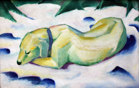 Dog Lying In The Snow - Posters by Franz Marc