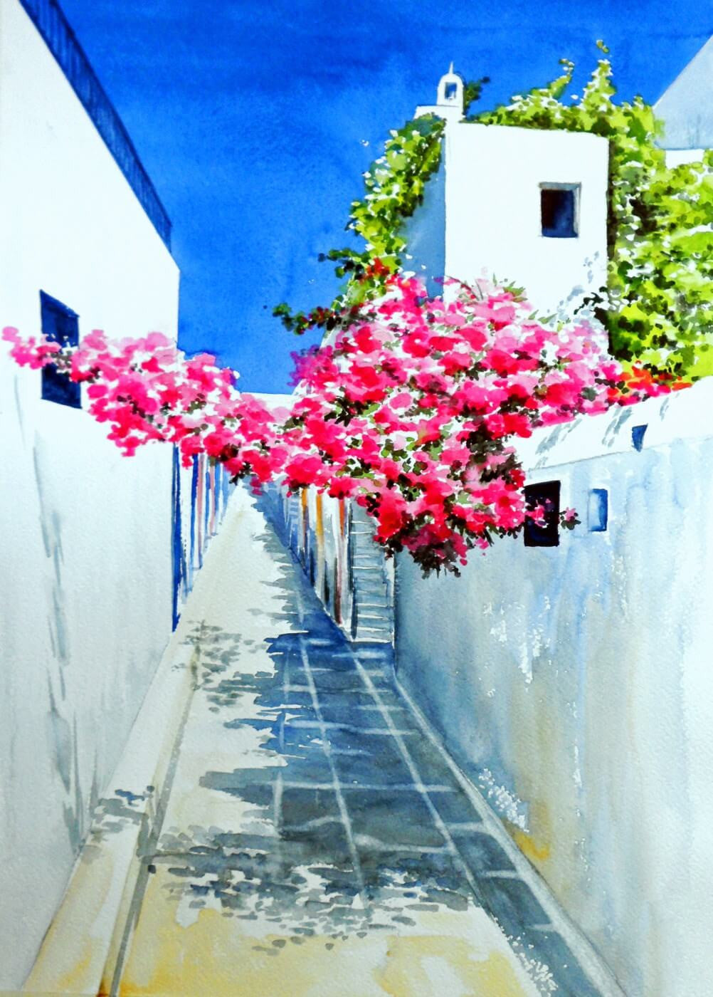 Watercolor painting bougainville blooms in mediterranean sunshine canvas prints