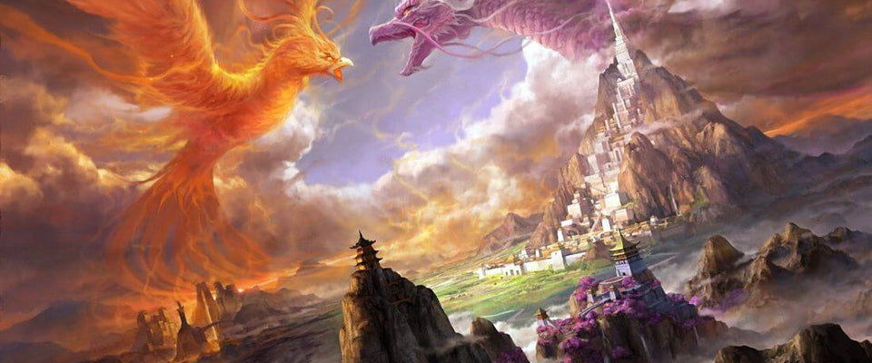 Dragon And Phoenix - Fantasy Art Painting by Tallenge Store | Buy Posters, Frames, Canvas  & Digital Art Prints