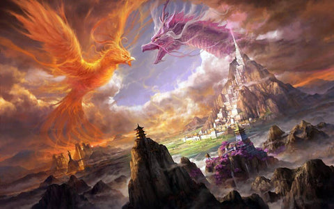 Dragon And Phoenix - Fantasy Art Painting by Tallenge Store