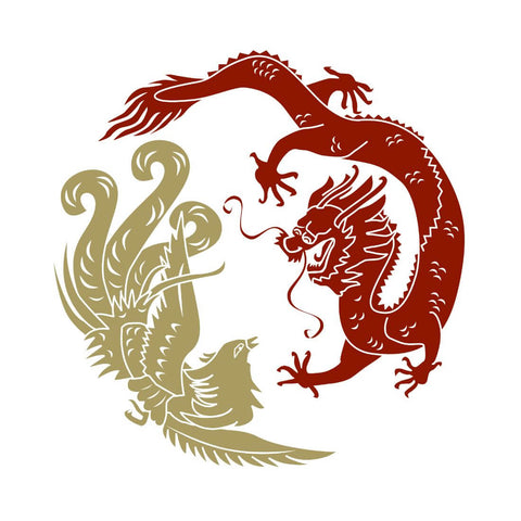 Dragon And Phoenix - Yin And Yang by Tallenge Store