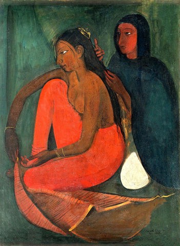 Dressing the Bride - Amrita Sher-Gil - Famous Indian Art Painting by Amrita Sher-Gil
