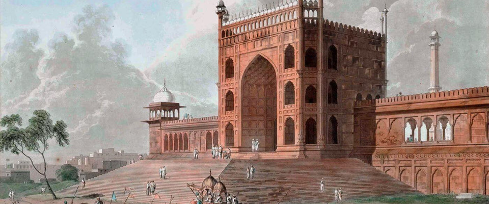 Eastern Gate of the Jama Masjid Delhi - William Daniell - Vintage Orientalist Aquatint of India by William Daniell | Buy Posters, Frames, Canvas  & Digital Art Prints