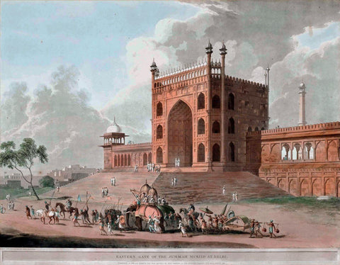 Eastern Gate of the Jama Masjid Delhi - William Daniell - Vintage Orientalist Aquatint of India
