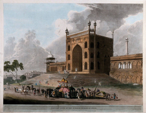 Eastern gate of the Jami Masjid at Delhi - Coloured Aquatint - Thomas Daniell  - 1795 Vintage Orientalist Paintings of India