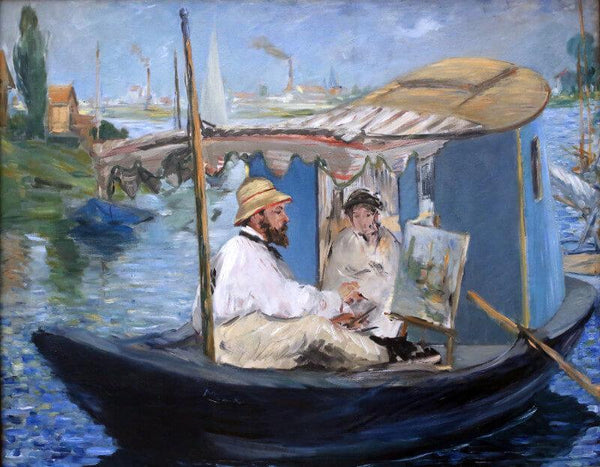 Monet Painting In His Studio Boat - Canvas Prints