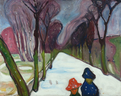 Avenue In The Snow - (Liste der Gemälde von) by Edvard Munch