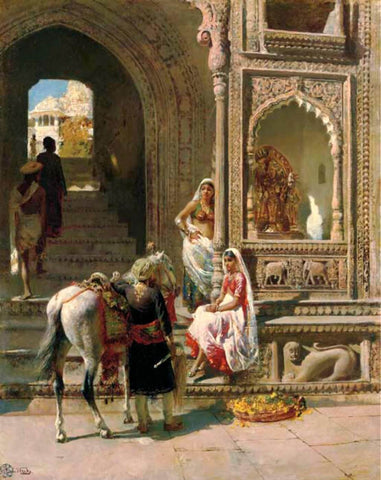 A Meeting At A Temple Gateway In Mathura  - Edwin Lord Weeks