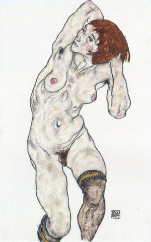 Egon Schiele - Female Nude With Black Stockings 1917
