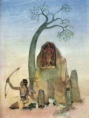 Ekalavya And Drona - Nandalal Bose - Bengal School Indian Painting by Nandalal Bose