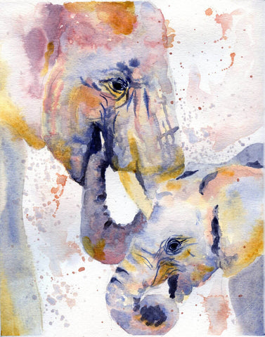 Elephant and Calf - Delicate Watercolor Painting
