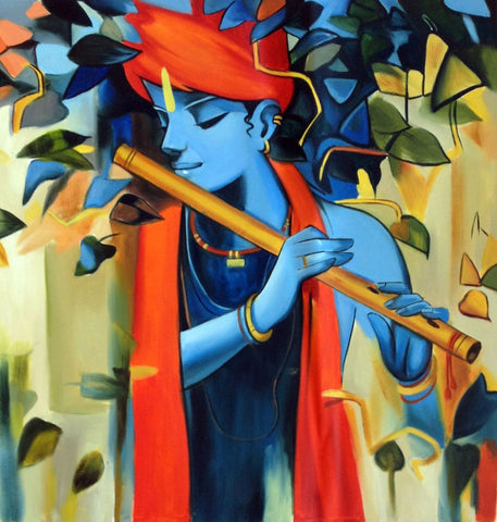 Enchanting Krishna Playing Flute