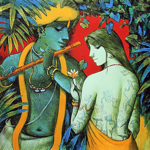 Enchanting Krishna with Radha Playing Flute Painting