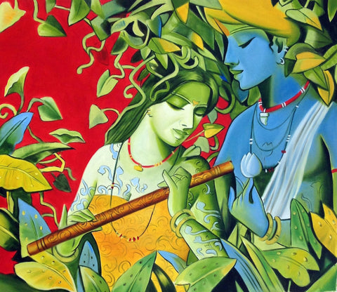 Enchanting Krishna with Radha Playing Flute