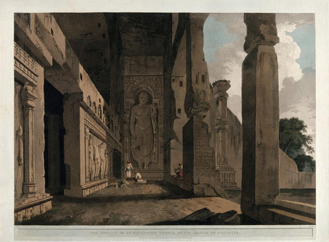 Entrance to the Great Chaitya Temple on the island of Salsette Maharashtra - William Daniell - Vintage Orientalist Aquatint of India c1800