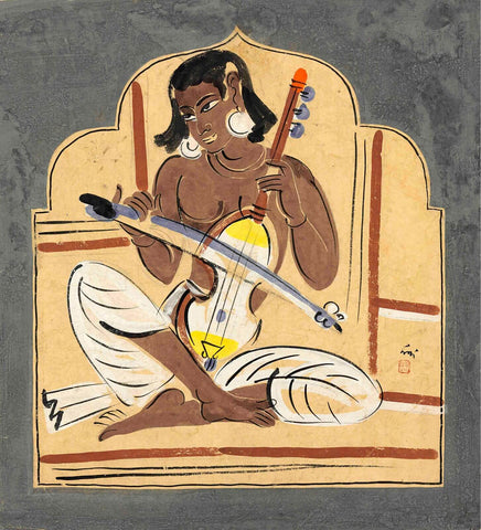 Esraj Player - Nandalal Bose - Bengal School Indian Painting by Nandalal Bose