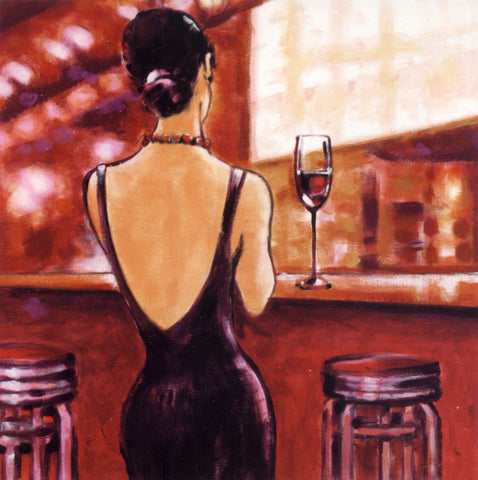 Lady With A Wine Glass - Canvas Prints