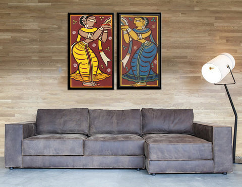 Set of 2 Jamini Roy Paintings - Framed Canvas -  Large (17 x 30) inches each by Jamini Roy