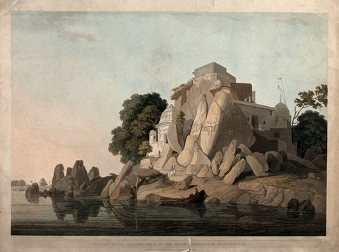 Fakir's Rock on the River Ganges, Bihar - William Daniell  - Vintage Orientalist Paintings of India c1800