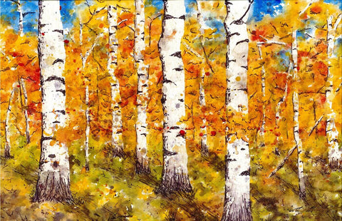Fall In Aspen  - Tallenge Abstract Landscape Painting