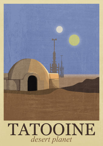 Fan Art - Tatooine Travel Poster - Star Wars - Hollywood Collection