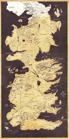 Fan Art Poster - Game Of Thrones  - Map Of The Seven Kingdoms Westeros - TV Show Collection