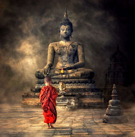 Fantasy Art -Young Monk And The Buddha