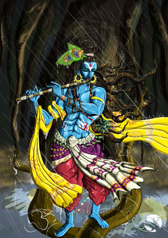 Fantasy Art - Digital Painting - Krishna Kanhaiya - Canvas Prints