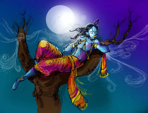 Fantasy Art - Digital Painting - Krishna Kanhaiya Playing Flute in the Moonlight