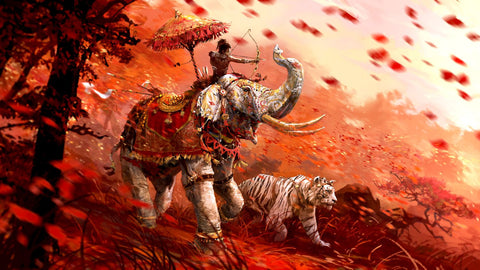 Fantasy Art - Warrior On Elephant With Tiger - Posters by James Britto
