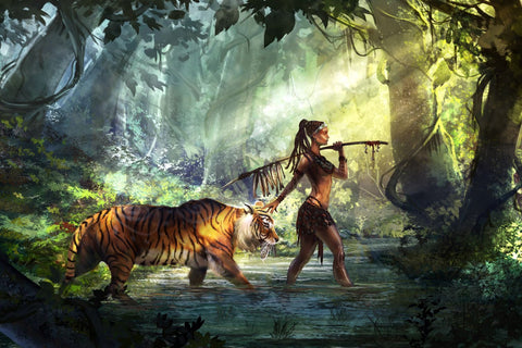 Fantasy Art - Woman Warrior With Tiger - Posters by James Britto