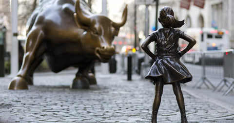 Fearless Girl Staring Down Wall Streets Bull by Christopher Noel