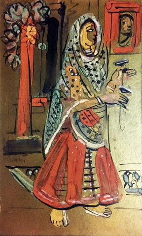Female Bard - Benode Behari Mukherjee - Bengal School Indian Painting by Benode Behari Mukherjee