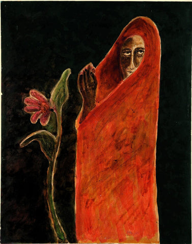 Woman With Flower - Posters