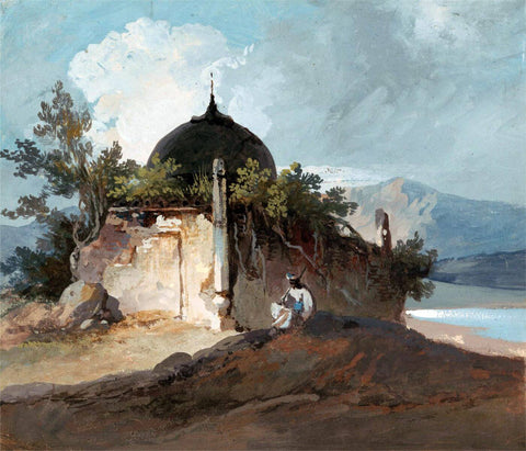Figure Seated by an Indian Temple - George Chinnery - Vintage Orientalist Painting of India