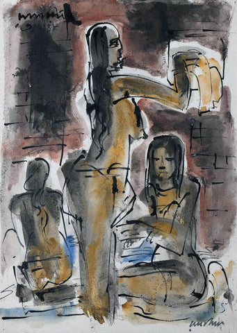 Figures - Ramkinkar Baij - Bengal School Indian Painting
