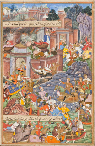 Indian Miniature Paintings - Rajput painting - Flight of Sultan Bahadur During Humayuns Campaign in Gujarat