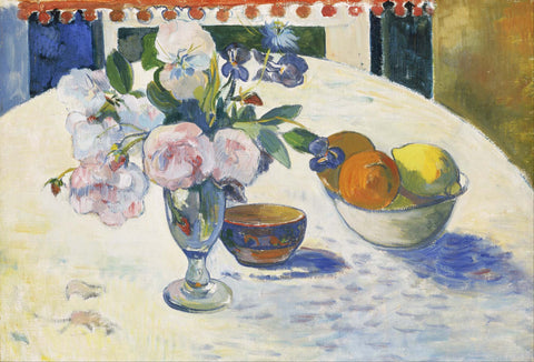 Flowers and a Bowl of Fruit on a Table - Framed Prints