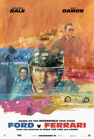Ford Vs Ferrari - Christian Bale - Matt Damon - Le Mans 66 - Hollywood English Action Movie Art - Posters by Kaiden Thompson