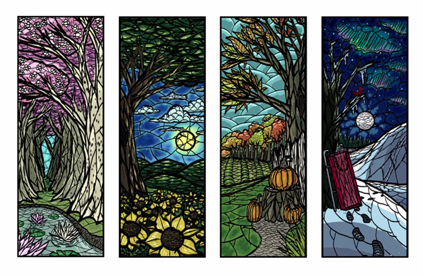 Four Seasons - Stained Glass Style - Art Panels by Hamid Raza | Buy ...