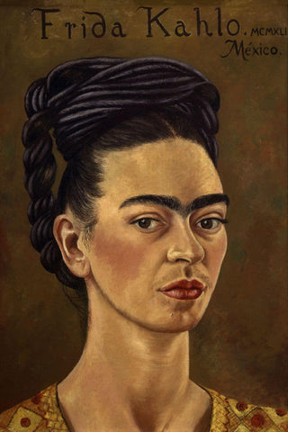 Self-portrait With Red And Gold Dress,1941- Frida Kahlo by Frida Kahlo