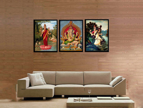 Set of 3 Ganesh Lakshmi Saraswati - Raja Ravi Varma  - Framed Canvas - Small (12 x 15) inches each