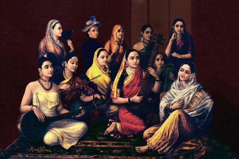 Galaxy Of Musicians - Raja Ravi Varma - Indian Painting Masterpiece by Raja Ravi Varma