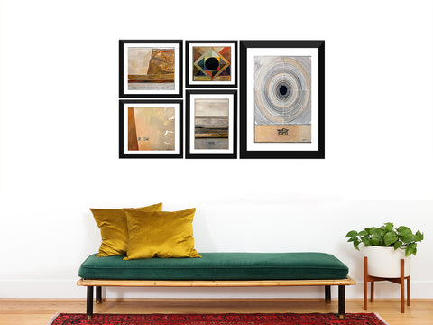 S H Raza Set Of 5 Gandhi Art Works - Shanti, Satya, Sanmati, Vaishnav Janato, Hey Ram - Framed Digital Art Prints -  ( 24 x 40 inches ) Final Size