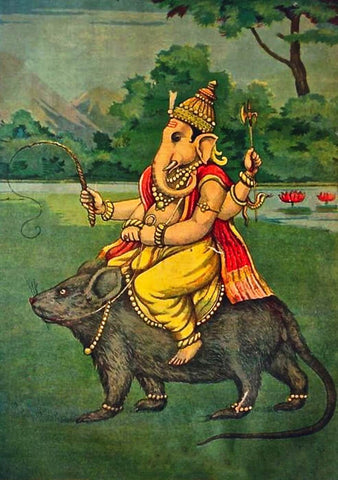 Ganesh On His Vahana - Raja Ravi Varma Oleograph Print - Indian Masters Painting