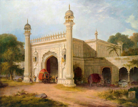 Gate of Serai at Chandpore in the Rohilla District - Thomas Daniell  - Vintage Orientalist Paintings of India by Thomas Daniell
