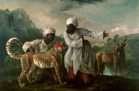 A Cheetah and Stag with Two Indian Attendants c. 1765 by George Stubbs