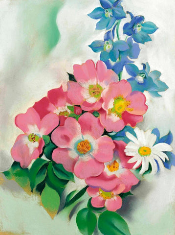 Pink Roses And Larkspur - Georgia OKeeffe