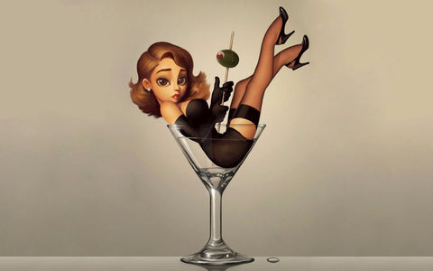 Girl In A Martini Glass - Bar Art by Deepak Tomar