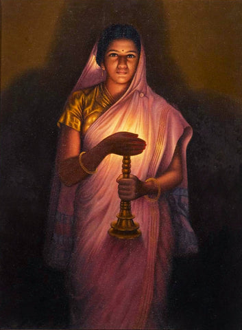 Woman With The Lamp by Raja Ravi Varma